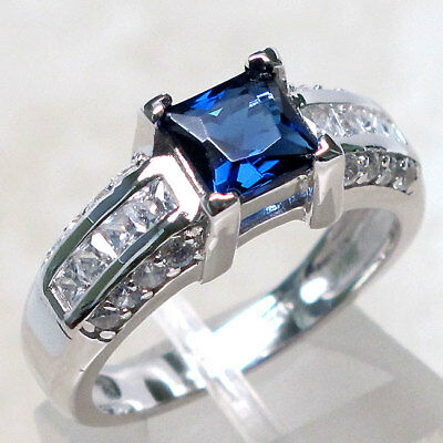 FANCY 2 CT SAPPHIRE 925 STERLING SILVER MICRO PAVE RING SIZE 5-10