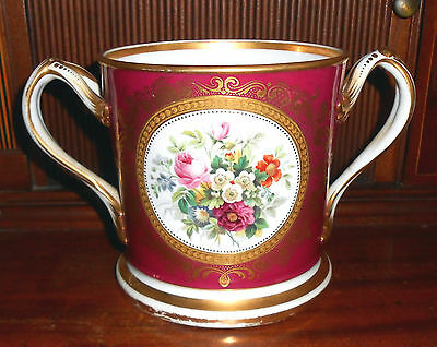 Large c.1850 English Hand Painted Porcelain Presentation Loving Cup Mug