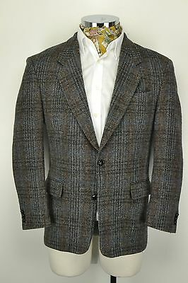 "Ventless HARRIS TWEED JACKET 42"" Short Grey Blue Check"