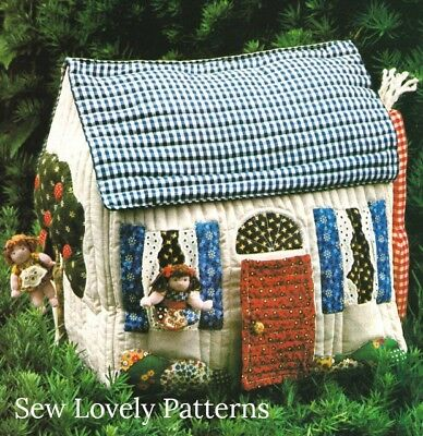 Vintage Miniature Doll House Pattern Quilted Stuffed Rag Doll House Toy Craft