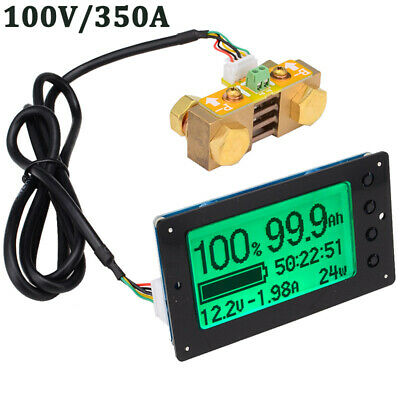 DC 12-100V 350A Battery Capacity Tester Voltage Current Indicator Coulomb Meter