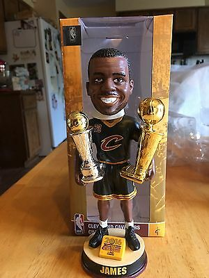 Lebron James Cleveland Cavaliers Camp BobbleHead Holding Two Trophies. New