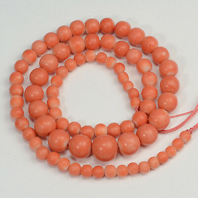 "4.3mm-9.7mm Natural Color Japanese Momo Coral 15.8"" Strand"