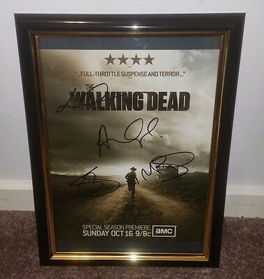 The Walking Dead Hand Signed By 4 Main Cast With Coa -  Framed Autographed Photo