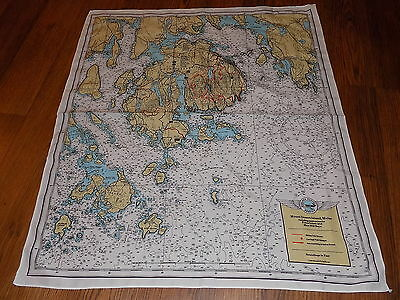 "MDI ""Escape"" Map/Scarf-Bar Harbor,ME-Acadia National Park 25""x21"" litho/rayon"