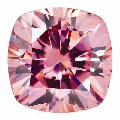 1 Cushion Cut Moissanite Fancy Pink 8mm Diameter 2.40 tcw Loose Stone