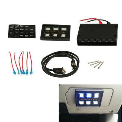 12-24V Touch Screen Switch Panel 6 ON-OFF Switch LED + VGA Socket Universal CA00