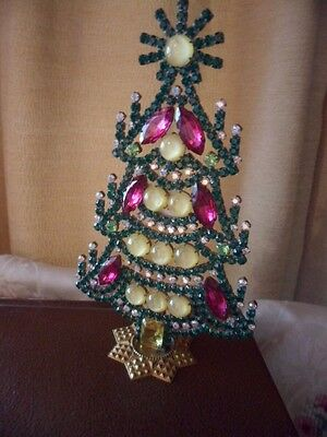 Vintage Czech Glass Crystal Christmas Tree Table Xmas Candles Ornament Standing