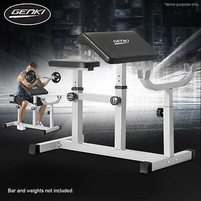 NEW Heavy-duty Steel Genki Fitness Workout Exercise Preacher Curl Weight Bench