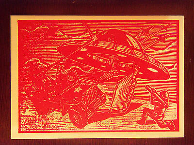 2016 Kickstarter MARS ATTACKS Occupation Woodcut Art MA-LP6 The Army Fights Back