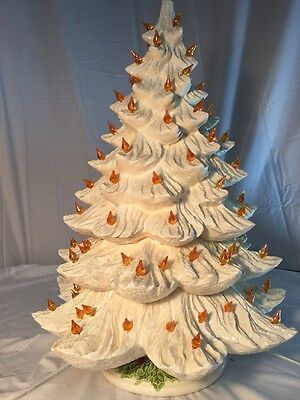 """Vintage 1979 21""""  Nowell's Mold White  Christmas Tree with Nowell's Light Stand"""
