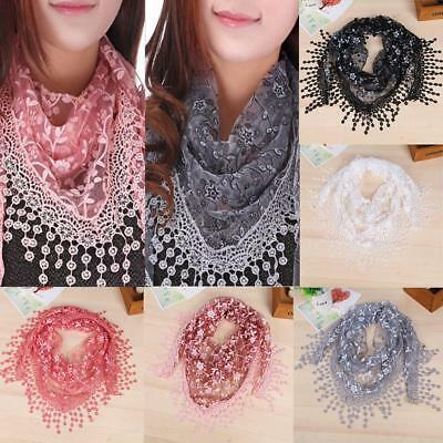Fashion Beauiful Ladies' Hollow Tassel Lace Rose Floral Scarf Shawl Wraps