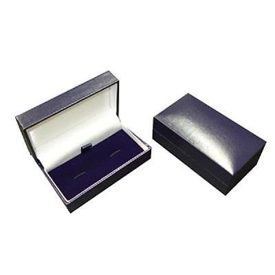 Bulk Buy Blue Leatherette Cufflinks Box - 12 Presentation Boxes with Hinged Lid