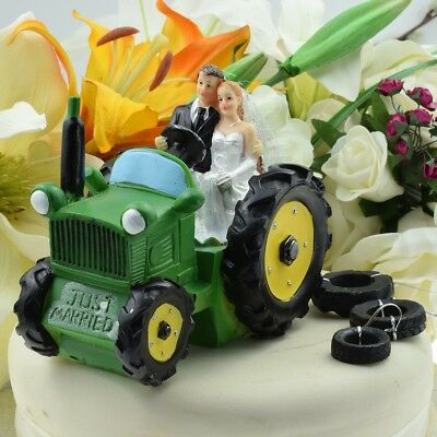 Tractor Cake Topper - Bride & Groom on Green Tractor Wedding Cake Decoration