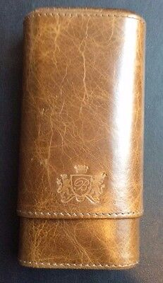 Brizard And & Co Genuine Leather Antique Brown Olive Leather Top 3 Cigar Case