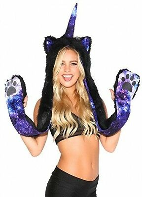 IHeartRaves Unicorn Rave Spirit Animal Furry Hood (Stardust Galaxy)