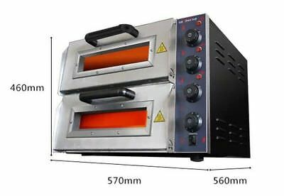 "ECO 220V 16"" Commercial Double Electric Pizza Oven Pizza Bread Making Machines"