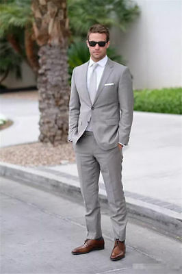 New Light Grey Men Wedding Suits Custom Made Formal Business Suits Groom Tuxedos