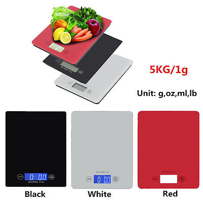 Digital Kitchen Scale Glass Compact Electronic Diet Bake Food Scale 11lb 5kg UB