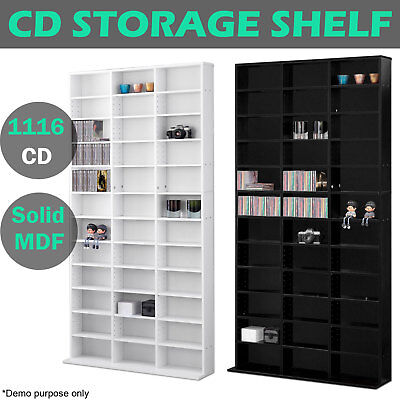 1116 CD Storage Shelf Rack DVD Media Cupboard Shelving Stand Bookshelf Bluray