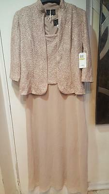 Mother of Bride Groom Wedding evening Prom Gown &Jacket formal dress size 14 L