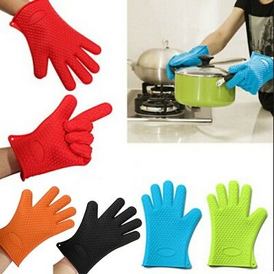 Kitchen Cooking Heat Resistant Silicone Glove Oven Pot Holder Baking BBQ Mitts
