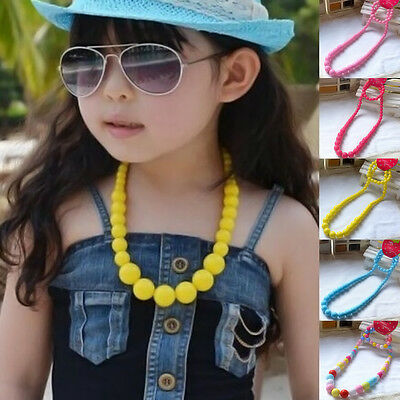 Colorful Girls Princess Beads Necklace Kids Children Bracelet Set Lovely Jewelry