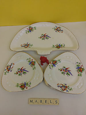 SOHO POTTERY SOLIAN WARE   ~BIRD & FLOWERS~ sandwich plates set