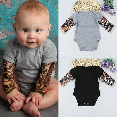 Newborn Infant Baby Boys Tattoo Sleeve Romper Jumpsuit Bodysuit Clothes Outfits