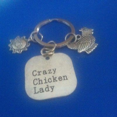 CRAZY CHICKEN LADY clip on charm, choice of colours.
