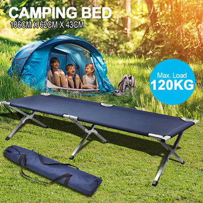 Folding Camping Single Bed Portable Aluminum Leisure Stretcher w/ Carry Bag