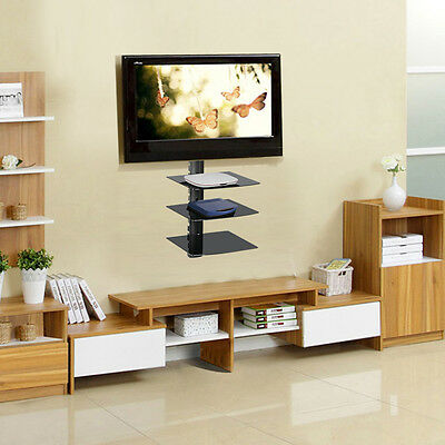 3 Tiers Floating Shelf Glass Adjustable Wall Mount TV Sky Box DVD Console Black
