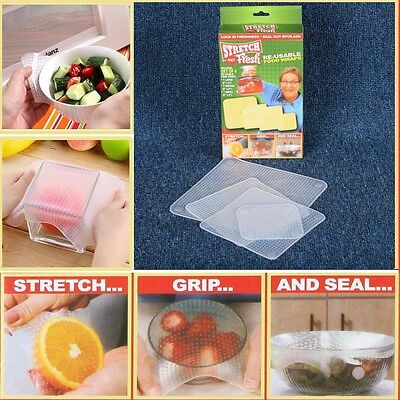 HOT Food Wraps Stretch and Fresh Re-usable Kitchen Tools 4Pcs/Set Silicone Cover