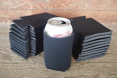 LOT of 100 BLACK Can Coozies Blank Beer Soda Coolers 12 oz Printable Coolies