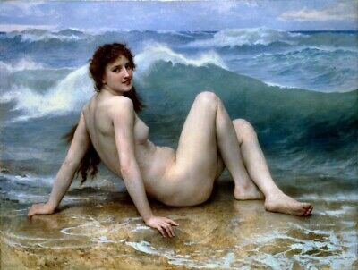 William Bouguereau The Wave Nude Female Painting Poster Fine Art Re-Print A3 A4