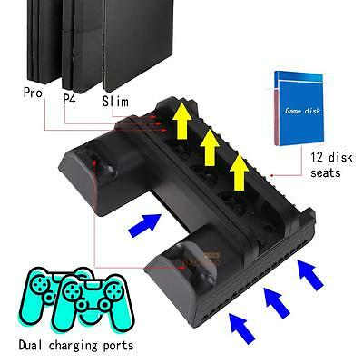 Vertical MultiFunctional Cooling Pad Cooling Dock Stand for PS4 PS4 Slim PS4 Pro