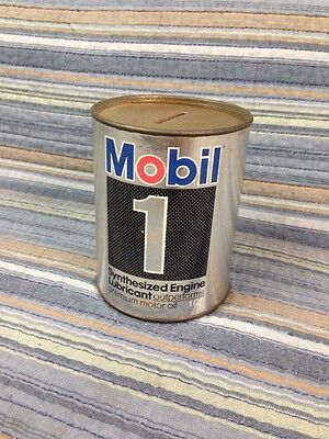 VTG MOBIL 1 MOTOR Oil Can Bank Gas Oil Advertising Petroliana Mobiloil Pegasus