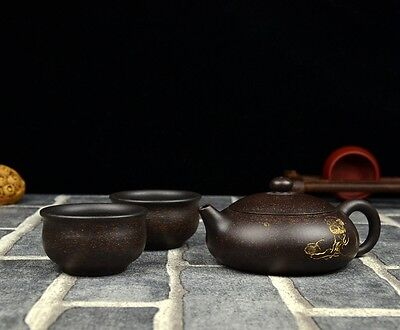 "Chinese Yixing Zisha Clay Handmade ""Oblate Xishi"" Teapot 120cc, With 2 Cups"