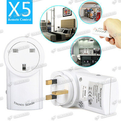 5 Pack Wireless Sockets Switch Home Mains AC Power UK Plug + 2x Remote Control
