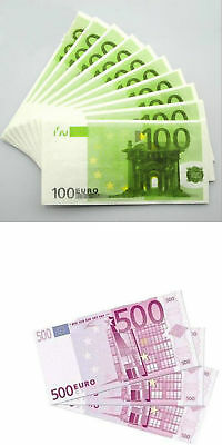 PACKET OF 10 x 100 / 500 EURO BILL PRINTED TISSUES - CASH GIFT TISSUE € EUROPE