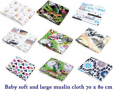 3 x LARGE MUSLIN SQUARE CLOTH BABY REUSABLE NAPPY WIPES  BIBS 100% COTTON TETRA