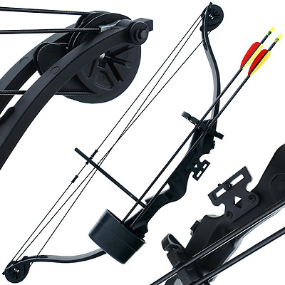 Starter Bow 25lb Black Compound 'Kita' Bow - Quiver + Arrows + Guards New