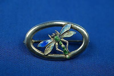 1916 Small Solid Silver Enamel Dragonfly Oval Brooch