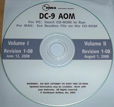 NWA McDonnell Douglas DC-9 aircraft operating manual cd-rom Volume 1 & II AOM