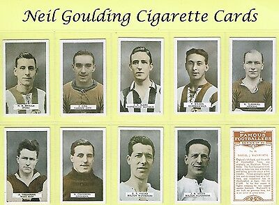 BAT (B.A.T.) - Famous Footballers, Set 1 1923 #1 to #50 Football Cigarette Cards