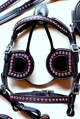 Super Cute Leather PONY MINI Driving Cart Harness Saddle BrEast Plate PINK BEADS