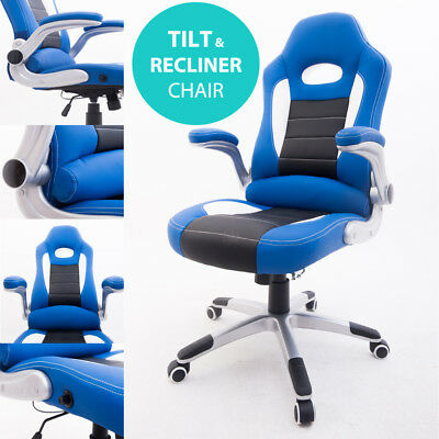 RayGar Supreme Blue Racing Seat Gaming Chair Swivel Computer Desk Office Chair