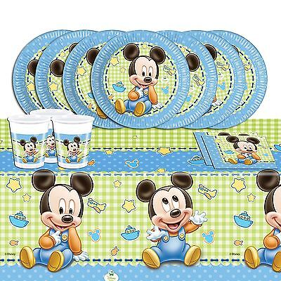 Disney Baby Mickey Mouse 1st Birthday Baby Shower Tableware Party Range Blue Boy