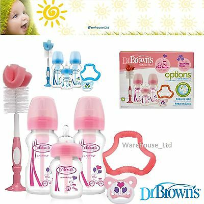 Dr Brown's Options Bottle Gift Set Baby Newborn Special Edition Blue Pink