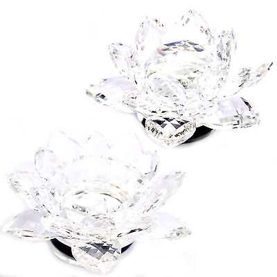 LARGE 130mm CRYSTAL CUT LOTUS FLOWER ROSE ORNAMENT WITH GIFT BOX CLEAR COLOUR UK